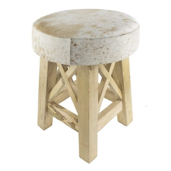 Stool Cow  Brown  Round Leather 35x35x45cm Mars & More